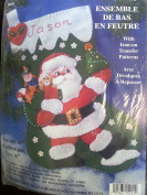 41cm Christmas Stocking Felt Applique Kit with Iron Transfer by Design Works Crafts 5014 Santa Toys