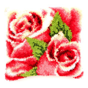 Vervaco Pink Roses Latch Hook Cushion, Multi-Colour