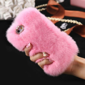 For iPhone 7 Plus Case [14cm ], Gotd Luxury Crystal Bling Fluffy Villi Fur Plush Wool Design Protective Case Cover for iPhone 7 Plus