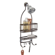 mDesign Bathroom Shower Caddy, for Shampoo, Conditioner, Soap and Razors - Bronze