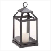 Large Black Metal Contemporary Style Pillar Candle Lantern - Clear Glass Panels
