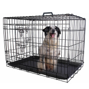 90cm 2 Doors Wire Folding Pet Crate Dog Cat Cage Suitcase Kennel Playpen w/ Tray