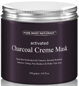 Activated Charcoal Face Mask, Charcoal Facial Mask Treatment Mud Mask - Improved Formula - 260ml by Pure Body Naturals