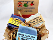 Outdoors Soap Gift Set 3 All Natural Soaps in 1 Gift-able Box W/ Ribbon and Bow Includes Trail Soap, Skeeter Beater and Stop Itch Soaps For Outdoors-men