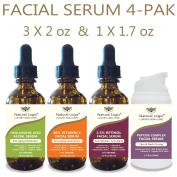 4 Bottle Serum Set – Natural Logix Anti-Ageing Facial Serums - 20% VITAMIN C (60ml) | 2.5% RETINOL (60ml) | 5% HYALURONIC ACID (60ml) | PEPTIDE COMPLEX (50ml), Natural and Vegan / 3 X 60ml + 1 X 50ml