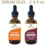 2 Bottle Serum Set – Natural Logix Anti-Ageing Serum Duo - 20% VITAMIN C (120ml) | 2.5% RETINOL (120ml), Penetrates to Reduce Wrinkles, Fade Dark Spots, Evens Skin Tone, 2 X 120ml
