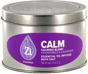 Calm Calming Blend (Chamomile & Lavender) Bath Salts. 470ml Windowed Tin - Zi Essentials