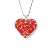 925 Sterling Silver Heart Pendant Fleur de Lis Necklace Handmade Polymer Clay Jewellery, 42cm