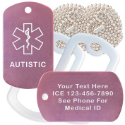 Custom 2 Pack - Autistic Medical Alert ID Necklaces with Pink Custom Tags, White Silencers, and 80cm USA Chains