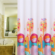 [Latest Style] Kid's Shower Curtain, Wimaha [Giraffe and Lion]Skin-friendly Baby Cosy 100% Polyester Shower Curtains for Children's Bathroom Bathtub [Animal Theme] [Light and Soft]