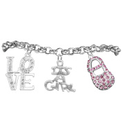 Love, Its A Girl, Adjustable Bracelet, Hypoallergenic, Safe-Nickel, Lead, Cadmium Free
