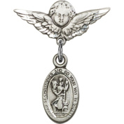 Sterling Silver Baby Badge with St. Christopher Charm and Angel w/Wings Badge Pin 2.2cm X 1.9cm