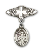 ReligiousObsession's Sterling Silver Baby Badge with St. Joseph Charm and Badge Pin with Cross