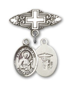 ReligiousObsession's Sterling Silver Baby Badge with ST. CAMILLUS of LELLIS/Doctors Charm and Badge Pin with Cross