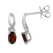 Natural Garnet and Diamond Accent Bypass Birthstone Earrings in Sterling Silver