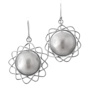 White Mabe Cultured Pearl Flower Filigree 925 Sterling Silver Earrings, 2.5cm