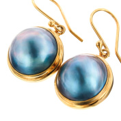 Blue Mabe Cultured Pearl Gold Plated 925 Sterling Silver Earrings, 1.7cm