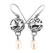 Freshwater Cultured Pearl Filigree 925 Sterling Silver Earrings, 2.5cm