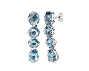 Sterling Silver Multi Stone Swiss Blue Topaz Long Drop & Dangle Earrings