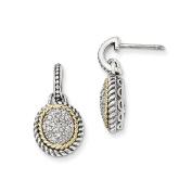 Sterling Silver w/Solid 14k Antiqued Diamond Post Dangle Earrings 21 x12mm
