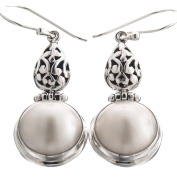 White Mabe Cultured Pearl Scroll Filigree 925 Sterling Silver Earrings, 3.2cm