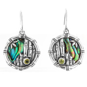 Bamboo Jungle Paua Abalone Shell Peridot 925 Sterling Silver Earrings, 2.1cm