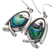 Fish Paua Abalone Shell 925 Sterling Silver Earrings, 2.5cm