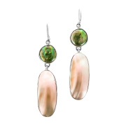 Abalone Shell Green Coin Freshwater Cultured Pearl 925 Sterling Silver Earrings, 4.4cm