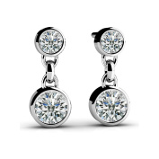 1.00 ct Round Diamond Two Stone Bezel Drop Earrings