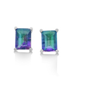 Mystic Topaz Stud Earrings - 3 CT Total, Claw Set in 925 Sterling Silver Post