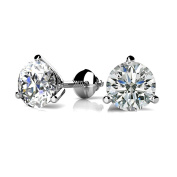 0.46 ct. Round Diamond Three Prong Martini Solitaire Stud Earrings with Screw Back