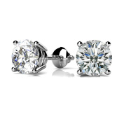 0.66 ct. Round Diamond Solitaire Stud Earrings Basket Set Screw Back