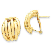 Solid 14k Yellow Gold Polished Fancy Omega Back Post Earrings 20 x16mm