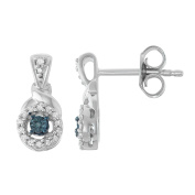 0.12 CTTW Diamond an Blue Diamond Solitaire look Earrings in Sterling Silver