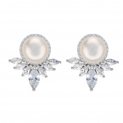 EleQueen 925 Sterling Silver CZ AAA Cream Freshwater Cultured Pearl Marquise Art Deco Bridal Stud Earrings