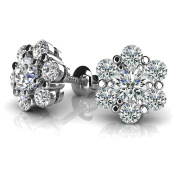 1.70 ct. Round Diamond Flower Shaped Cluster Stud Earrings with Screw Back