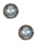 Grey Freshwater Pearl and Champagne Diamond Echo Earrings