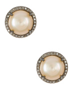 Pink Freshwater Pearl and Champagne Diamond Echo Earrings