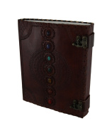 Colourful Chakra Stones Double Clasp Embossed Leather Bound Journal 25cm X 33cm