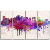 "Designart PT6610-271 4 Panel ""Boston Skyline Cityscape"" Canvas Artwork Print, Purple, 120cm x 70cm"