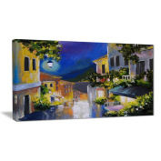 "Designart PT6112-100cm - 50cm Night City Near Sea Landscape Large"" Canvas Artwork, Blue, 100cm x 50cm"