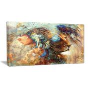 """Designart PT6090-80cm - 41cm Indian Woman Collage with Lion Indian"""" Canvas Artwork, Brown, 80cm x 41cm"""