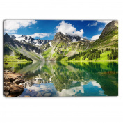 "Designart PT6083-100cm - 80cm Reflecting Mountain Lake Landscape"" Canvas Artwork, Green, 100cm x 80cm"