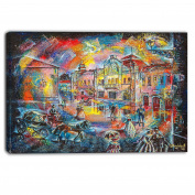 "Designart PT6074-100cm - 80cm Night City with People Cityscape"" Canvas Artwork, Blue, 100cm x 80cm"
