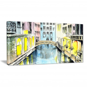 "Designart PT6077-80cm - 41cm Canal in Venice Cityscape"" Canvas Artwork, Yellow, 80cm x 41cm"
