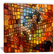 "Designart PT6043-80cm - 80cm Dreaming of Stained Glass"" Canvas Artwork, Red, 80cm x 80cm"