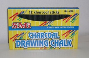 SMi Charcoal Drawing Chalk - 12 charcoal sticks No. 4136