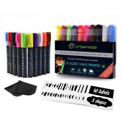 Chalk Markers Set (10 Pens) by Urbamade – Non Toxic, Water Based Art Supplies for Kids, Crafters and Teachers – Safe, Odourless and Erasable – Includes 40 Labels & Cleaning Cloth