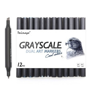 Dainayw Grayscale Art Marker Pens, Dual Tips Cool Grey,Colourless Blender, Sketch 12 Pack
