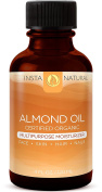 InstaNatural Sweet Almond Oil – 100% Pure & Certified Organic Almond Oil – Multipurpose Moisturiser for Face, Body & Nails – Cold Pressed, Unrefined & Natural Conditioner for Dry & Damaged Hair – 120ml
